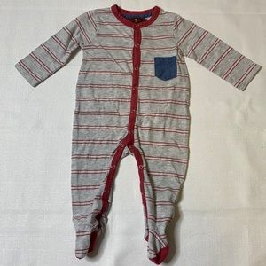 7 For All Mankind Pink/Gray Stripe Footed Sleeper